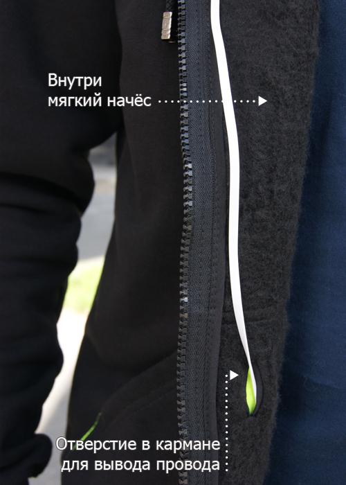 Провод от наушников заводится через специальное отверстие внутрь кармана