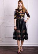 юбка из черного атласа